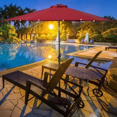 10 ft. Steel Cantilever Patio Umbrella with Crank and LED Lights in Burgundy