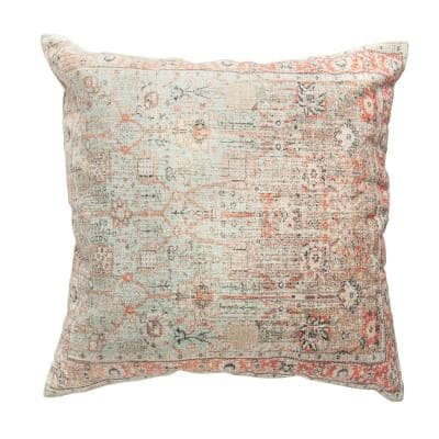 Multicolor Heavily Distressed 24 in. x 24 in. Throw Pillow