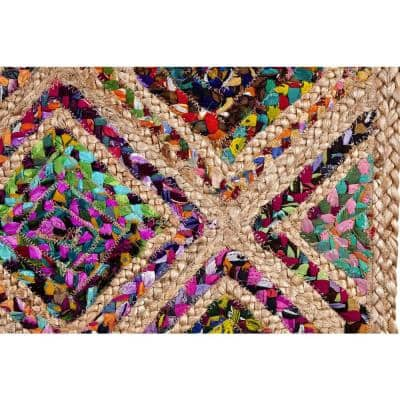 Diamond Braid is Durable Mildew and Moisture Resistant Reversible Natural 5 ft. x 5 ft. Octagon Jute Area Rug