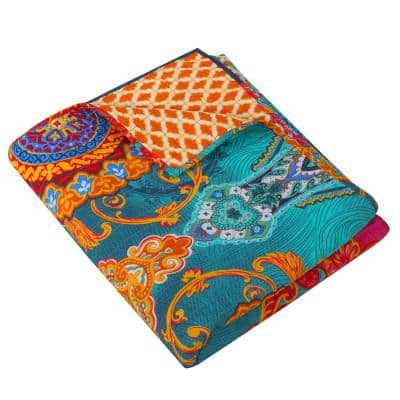 Mackenzie Multi-Colored Quilted Cotton Throw Blanket