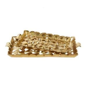 Gold Aluminum Decorative Tray (Set of 2)