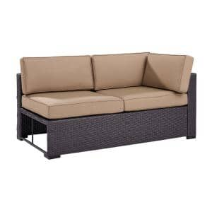 Biscayne Wicker Outdoor Sectional Loveseat with Mocha Cushions