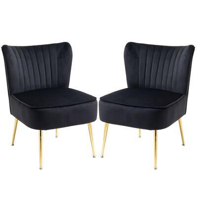 Black Velvet Slipper Chair (Set of 2)