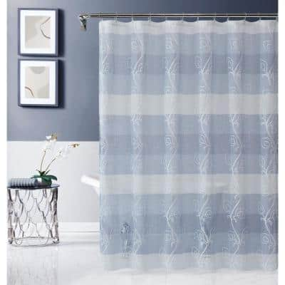 Silvia 70 in. x 72 in. Embroidered Shower Curtain in Blue