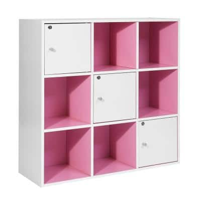 35 in. Pink Wood 3-Shelf Etagere Bookcase with Build in Storage
