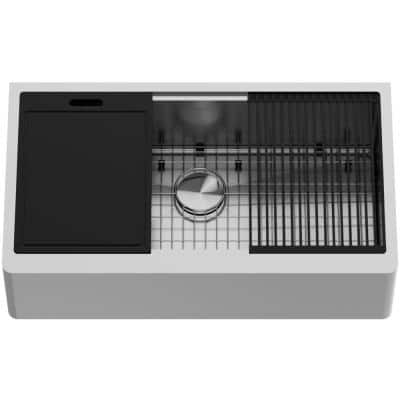 Oxford Stainless Steel 36 in. Single Bowl Flat Farmhouse Apron-Front Workstation Kitchen Sink with Accessories