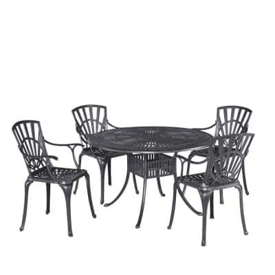 Grenada Charcoal Gray 5-piece Cast Aluminum 48 in. Round Outdoor Dining Set