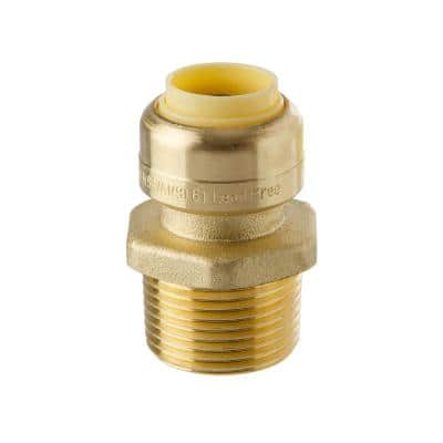 """1/2"""" Push-Fit X 3/4"""" Male Pipe Thread Brass Coupling"""