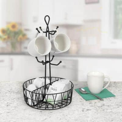 Paxton 8-Hook Mug Tree Coffee & Tea Cup Display Stand Holder & Condiment Station Organizer, Black