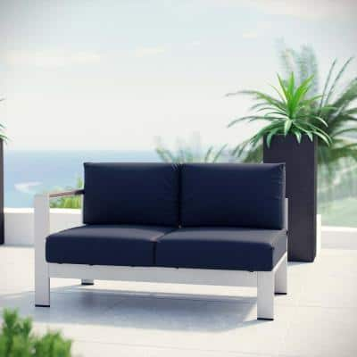 Shore Patio Aluminum Left Arm Outdoor Sectional Chair Loveseat in Silver with Navy Cushions