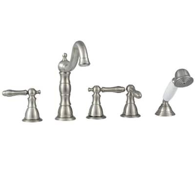 Lyndhurst 2-Handle Deck-Mount Roman Tub Faucet with Handheld Shower in Brushed Nickel