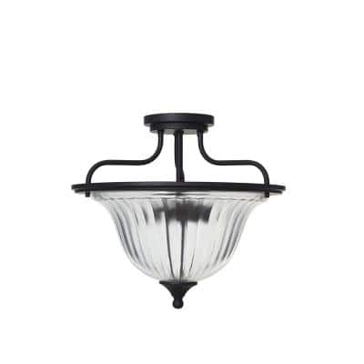 13 in. Bronze Traditional Semi Flush Mount and LED Bulb