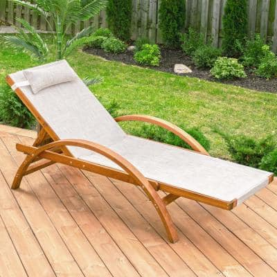 Reclining Brown 76 in. W x 30 in. D x 25 in. H Sling Wooden Patio Lounge Chair with Beige Cusions