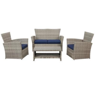 Classic Gray 4-Piece Wicker Patio Conversation Set with Navy Cushions