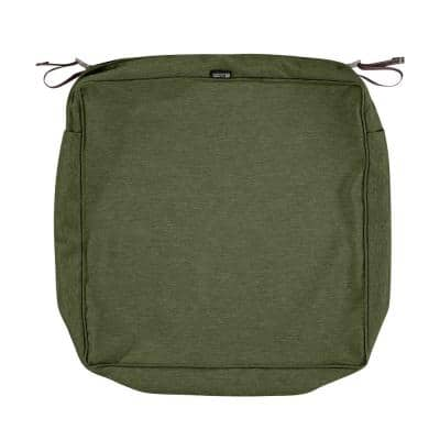 Montlake FadeSafe 19 in. W x 19 in. D x 5 in. H Square Patio Lounge Seat Cushion Slip Cover in Heather Fern Green