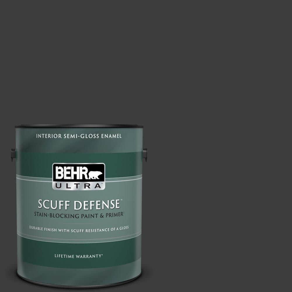Behr Ultra 1 Gal Black Extra Durable Semi Gloss Enamel Interior Paint Primer 375301 The Home Depot