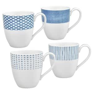 Blue/White Hammock Porcelain Assorted Mugs (Set of 4) 15 oz.