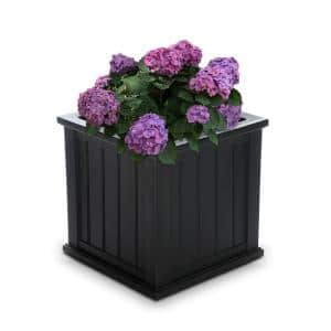 Self-Watering Cape Cod 20 in. Square Black Plastic Planter