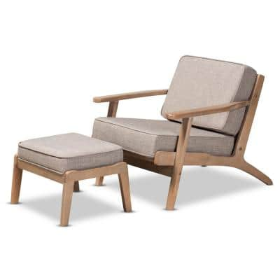 Sigrid Light Grey Upholstered Wood Armchair and Ottoman Set 2-Piece