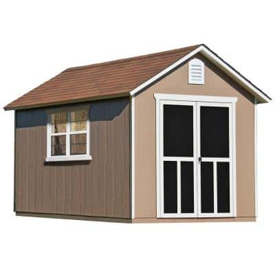 Installed Meridian Deluxe 8 ft. x 12 ft. Wood Storage Shed with Upgrades and Autumn Brown Shingles