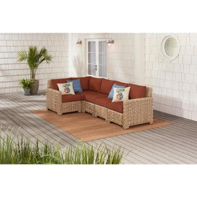 Laguna Point 5-Piece Natural Tan Wicker Outdoor Patio Sectional Sofa with CushionGuard Quarry Red Cushions