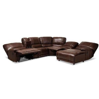Salomo 6-Piece Brown Faux Leather 6-Seater Curved Reclining Sectional Sofa