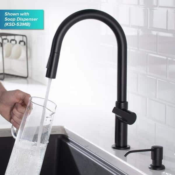 Kraus Oletto Single Handle Pull Down Sprayer Kitchen Faucet In Matte Black Kpf 2820mb The Home Depot