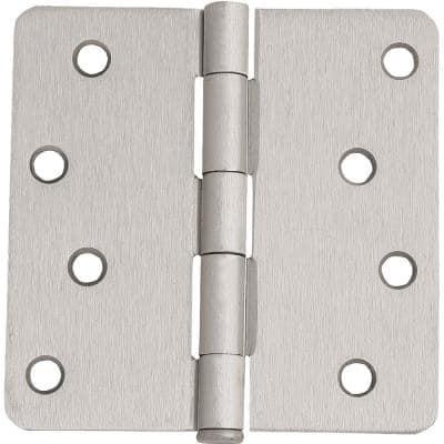 4 in. x 1/4 in. Radius Satin Nickel Door Hinge Value Pack (3 per Pack)