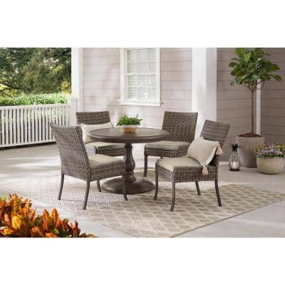 Windsor 5-Piece Brown Wicker Round Outdoor Patio Dining Set with CushionGuard Biscuit Tan Cushions