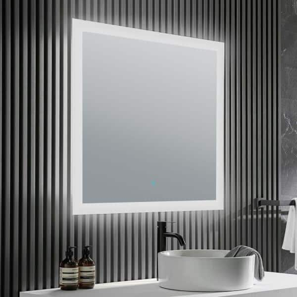 Anzzi Mars 32 In W X 30 H, Home Depot Bathroom Mirror With Lights