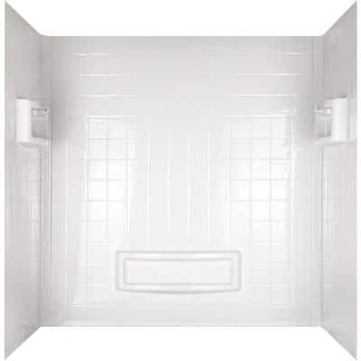 Distinction 60 in. W x 60 in. H Three Piece Glue Up Tub Surrounds in High Gloss White
