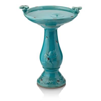 24 in. Tall Outdoor Ceramic Antique Pedestal Birdbath with 2 Bird Figurines, Turquoise