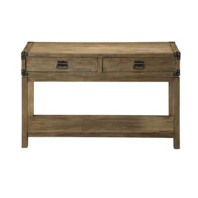 Carmel 48 in. Natural Standard Rectangle Wood Console Table with Drawers
