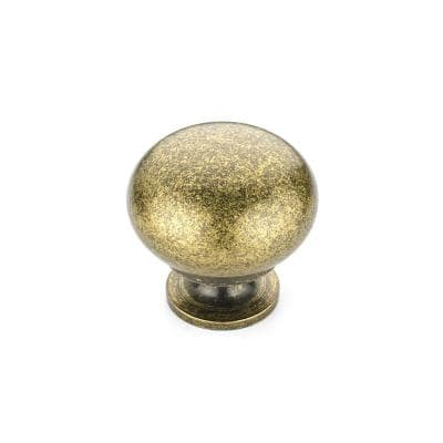 1-1/4 in. (32 mm) Burnished Brass Traditional Brass, Hollow Metal Cabinet Knob