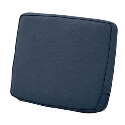Montlake 21 in. W x 20 in. x 4 in. Thick Heather Indigo Blue Rectangular Outdoor Lounge Chair Back Cushion