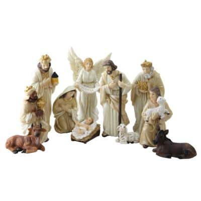 5.5 in. Christmas Nativity Earth Toned Inspirational Figure Set with Glittered Accents (11-Piece)