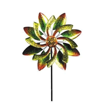 64 in. Tall Floral Windmill Stake with Jeweled Kinetic Spinner, Green and Orange