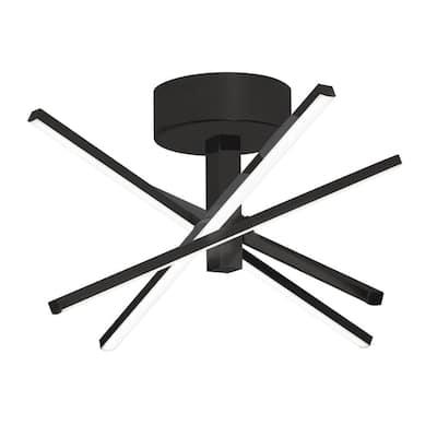 Jaxx 20 in. 4-Light Black Integrated LED Flush Mount with Acrylic Shade