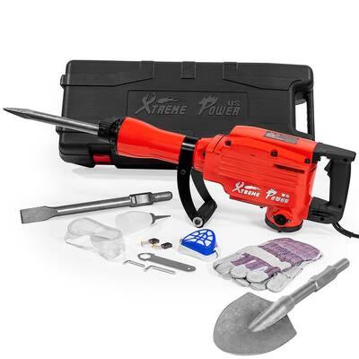 2200-Watt Heavy-Duty Electric Jackhammer Demolition Hammer Concrete Breaker Tool Kit with Spade Shovel Bit