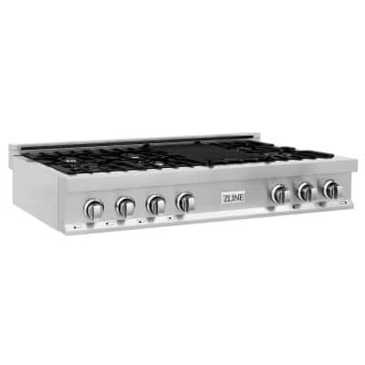 48 in. Porcelain Gas Stovetop with 7 Burners and Griddle