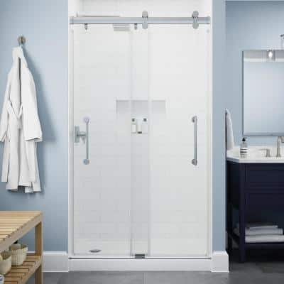 Paxos 48 in. W x 76 in. H Sliding Frameless Shower Door in Chrome with 5/16 in. (8 mm) Clear Glass