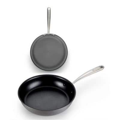 10 and 12 in. Aluminum Nonstick Skillet Set in Gray