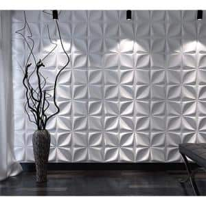 19.7 in x 19.7 in. x 1 in. Matt White PVC 3d Wall Panels Decorative Paneling (12-Pack)