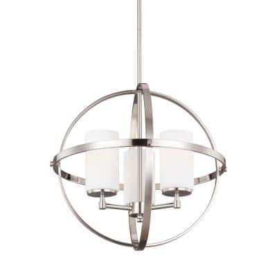 Alturas 3-Light Brushed Nickel Modern Hanging Globe Chandelier with Etched White Glass