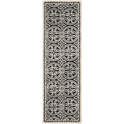 Cambridge Black/Ivory 3 ft. x 12 ft. Runner Rug