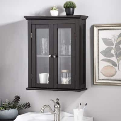 20 in. W x 7 in. D x 24 in. H Wall Cabinet with Double Doors in Espresso