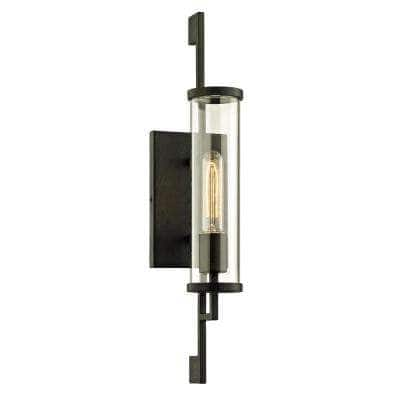 Park Slope 1-Light Forged Iron 21 in. H Outdoor Wall Lantern Sconce with Clear Glass