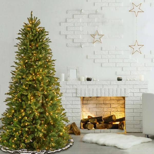 National Tree Company 7 1 2 Ft Feel Real Tiffany Fir Slim Hinged Artificial Christmas Tree With 600 Clear Lights Petf3 304 75 The Home Depot