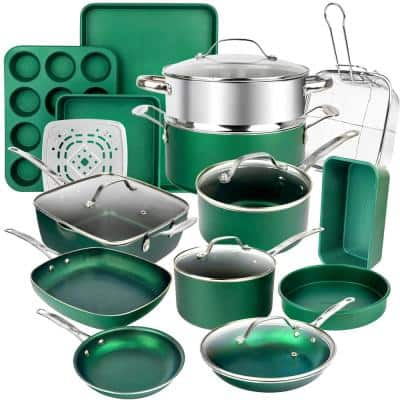 Emerald Green 20-Piece Aluminum Ultra-Durable Triple Layer Non-Stick Cookware and Bakeware Set