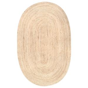Rigo Chunky Loop Jute Tan 8 ft. x 10 ft. Oval Rug
